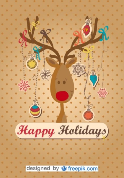 Happy Reindeer Done Christmas Tree Free Vector