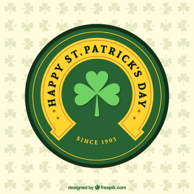 Happy St Patricks Day Label Free Vector