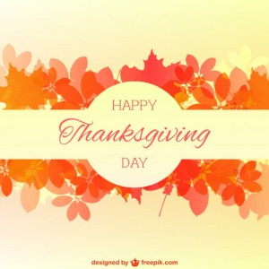 Happy Thanksgiving Card with Autumn Leaves Free Vector