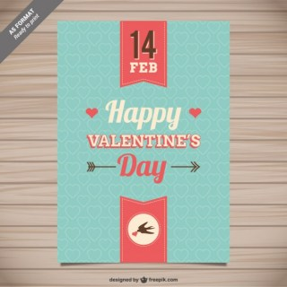 Happy Valentines Day Card with Hearts Free Vector