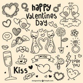 Happy Valentines Day Doodles Free Vector