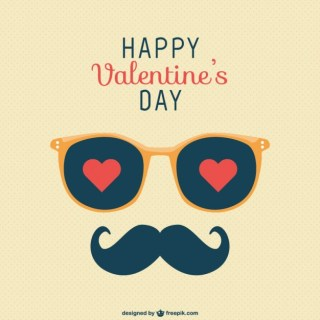 Happy Valentines Day Moustache Greeting Free Vector