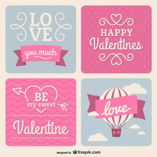 Happy Valentines Day Stickers Free Vector
