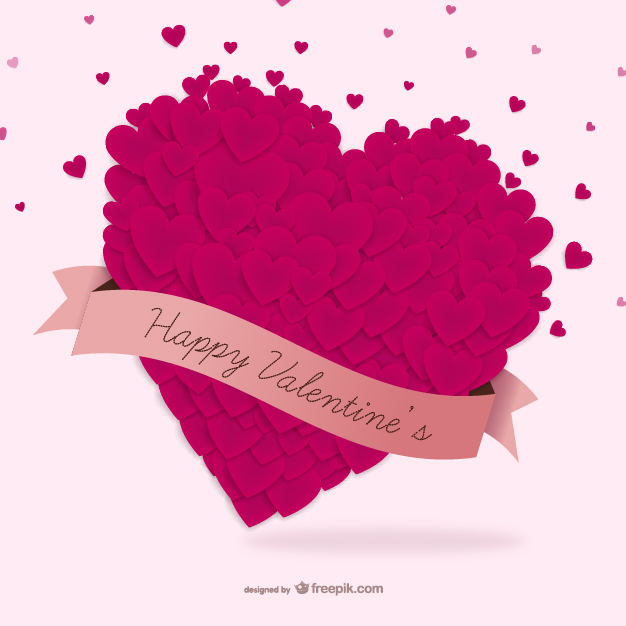 Happy Valentines Day with Hearts Free Vector