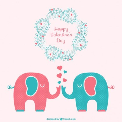Happy Valentines Elephant Card Free Vector
