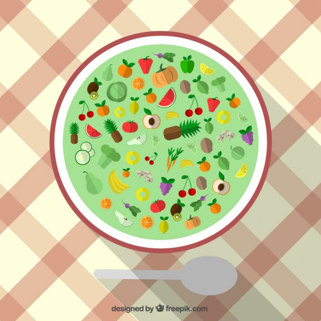 Healthy Food Icons on a Plate Free Vector