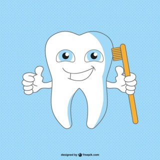 Healthy Happy Tooth Cartoon Free Vector