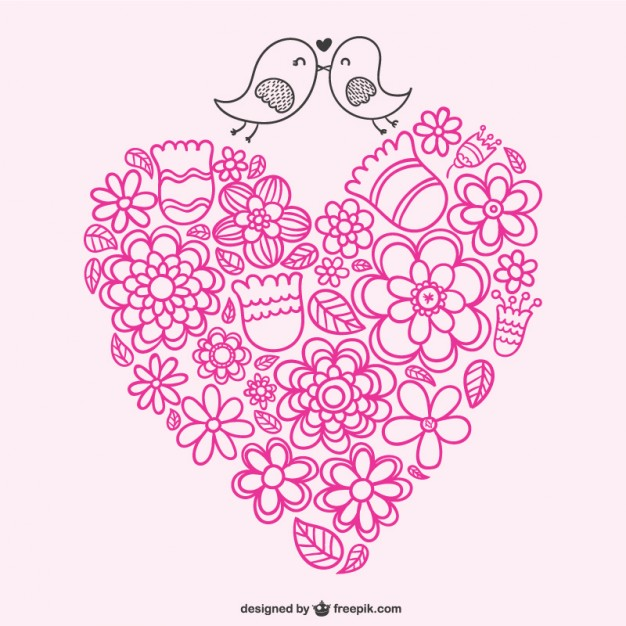 Heart and Birds with Doodles Free Vector