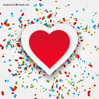 Heart and Confetti Greeting Card Free Vector