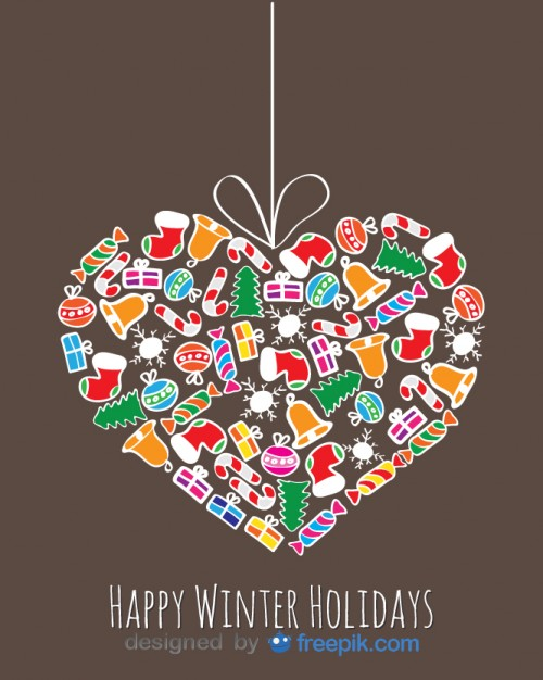 Heart Done with Christmas Objects Decoratives Hanging From a Rope Free Vector