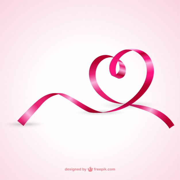 Heart From Pink Ribbon Free Vector