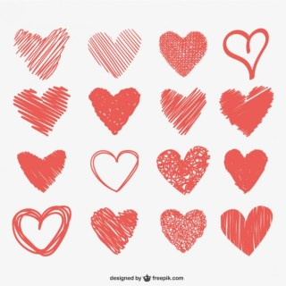 Heart Scribbles Collection Free Vector