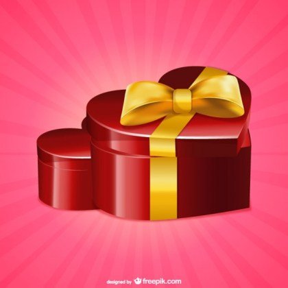 Heart Shaped Present Box Free Vector