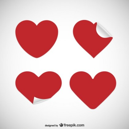 Heart Shaped Stickers Free Vector