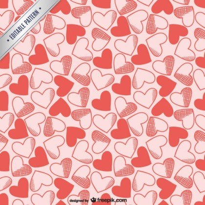 Hearts Editable Pattern Free Vector
