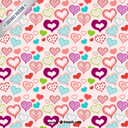 Hearts Pattern Y Hand Drawn Style Free Vector