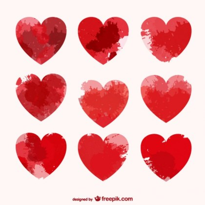 Hearts with Paint Stains Free Vector