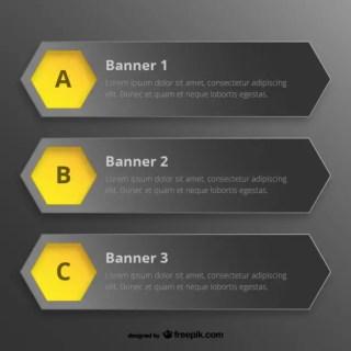 Hexagon Banner Templates Free Vector
