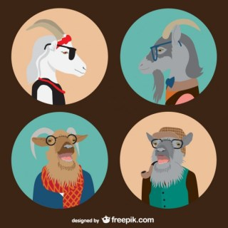 Hipster Animals Free Vector