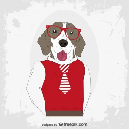 Hipster Dog Free Vector