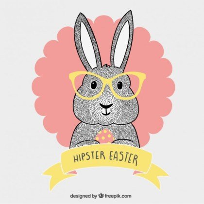 Hipster Easter Bunny Free Vector