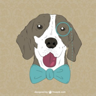 Hipster Monocle Bow Tie Dog Free Vector