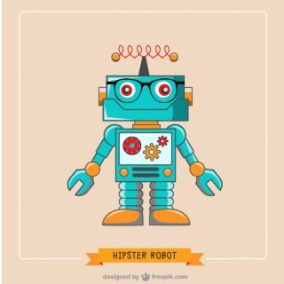 Hipster Robot Illustration Free Vector