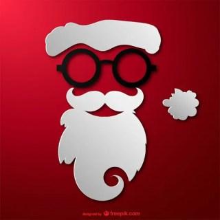 Hipster Santa Face Free Vector