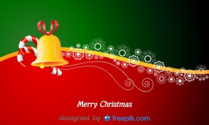 Horizontal Merry Christmas Postcard with Candy Canes and a Bell Free Vector
