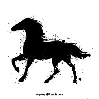 Horse Black Watercolor Free Vector