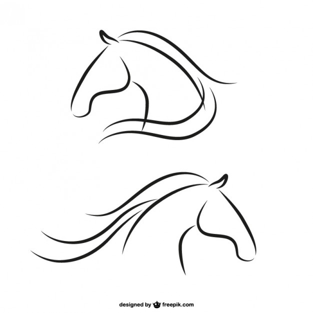 Horse Heads Outlines Free Vector