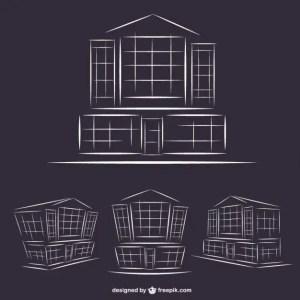 Hotel Buildings Line Art Graphics Free Vector