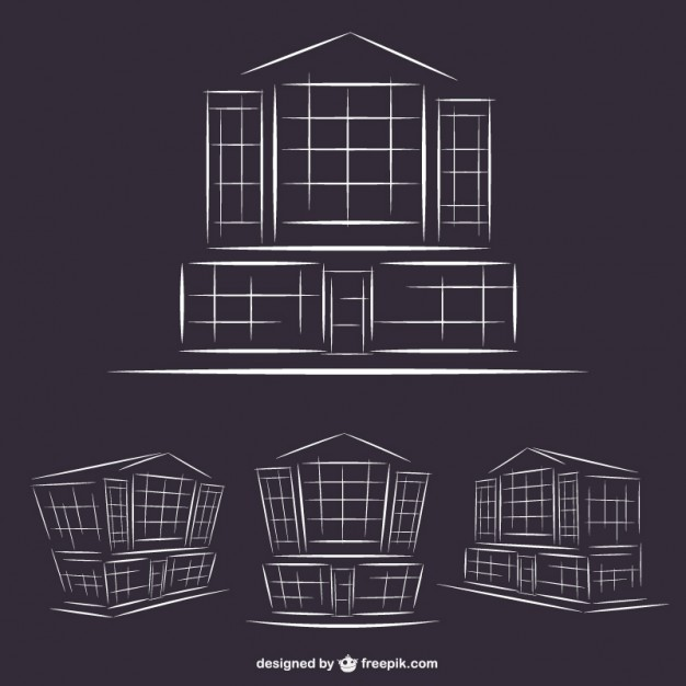 Hotel Buildings Line Art Graphics Free Vector
