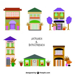 Houses and Shops Graphics Free Vector