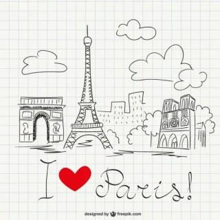 I Love Paris Sketch Free Vector