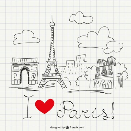 I Love Paris Sketch Free Vector