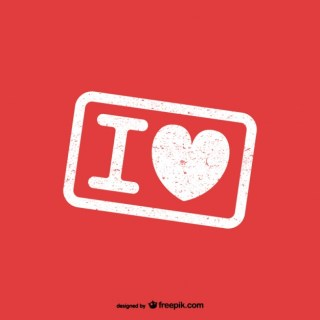 I Love Rubber Stamp Free Vector