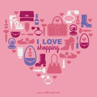 I Love Shopping Image Free Vector