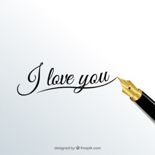 I Love You Calligraphy Free Vector