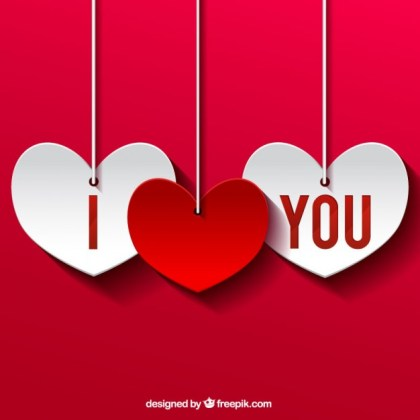 I Love You Cutout Hearts Free Vector