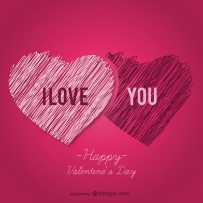 I Love You Greeting Card Free Vector