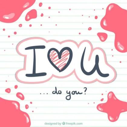 I Love You Handwritten Free Vector
