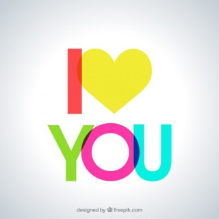 I Love You in Colorful Lettering Free Vector