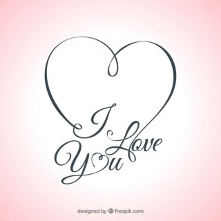 I Love You Lettering Card Free Vector