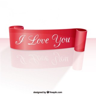 I Love You Ribbon Free Vector