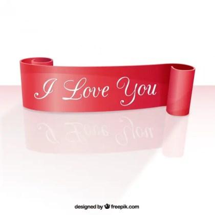 I Love You Ribbon Free Vector