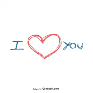 I Love You Scribble Free Vector