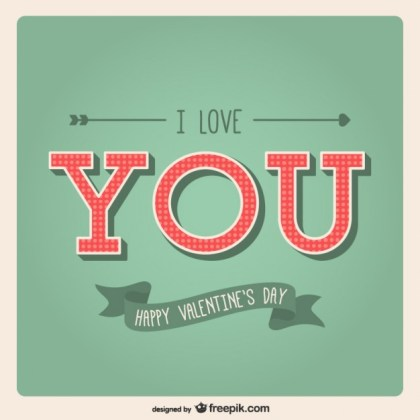 I Love You Valentine Card Free Vector