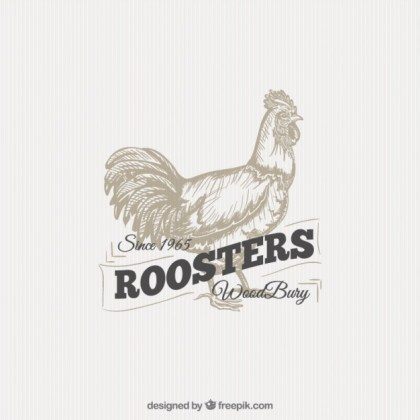 Illustrated Rooster Badge Free Vector