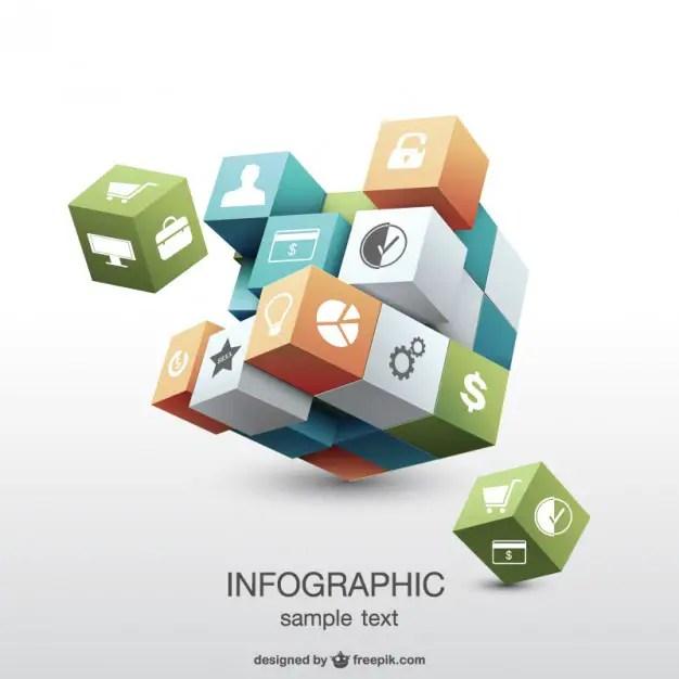 Infographic 3D Geometric Design Free Vector